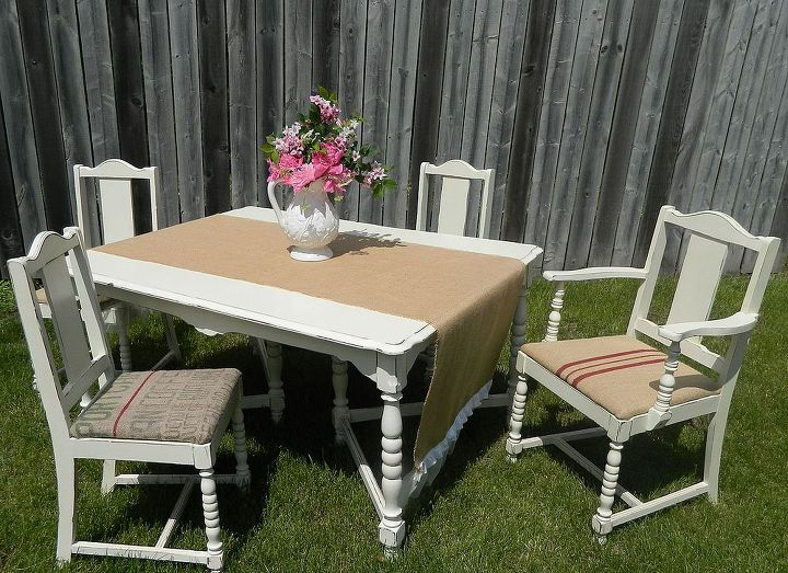 faux grain sack table and chairs, painted furniture, repurposing upcycling, reupholster