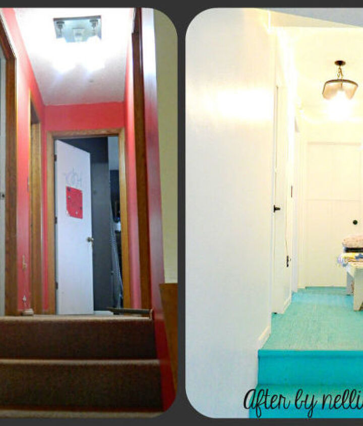 my update hall is bright and cheerful, doors, foyer, home decor