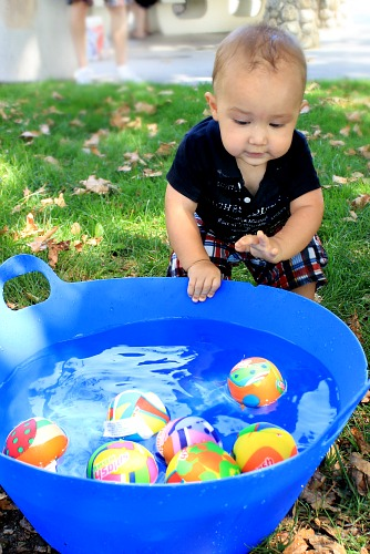 End of the season clearance drink buckets and water bomb balls make great toddler play time!