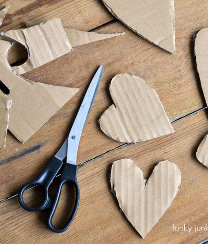 Hearts were cut free hand out of corrugated cardboard. I was after every one being different. That worked...