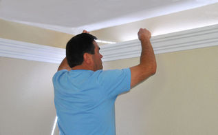 how to install foam crown molding and led lighting, lighting, wall decor, woodworking projects