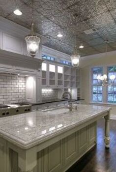 how to cover ugly popcorn ceilings, home decor, tiling, Tin ceilings are a great way to brighten up a kitchen