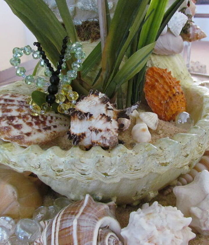 The bottom shell has a orchid, butterfly, sand and shells