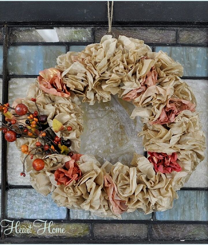 coffee filter fall wreath, crafts, repurposing upcycling, seasonal holiday decor, wreaths, Coffee Filter Fall Wreath Simple elements come together to make something beautiful