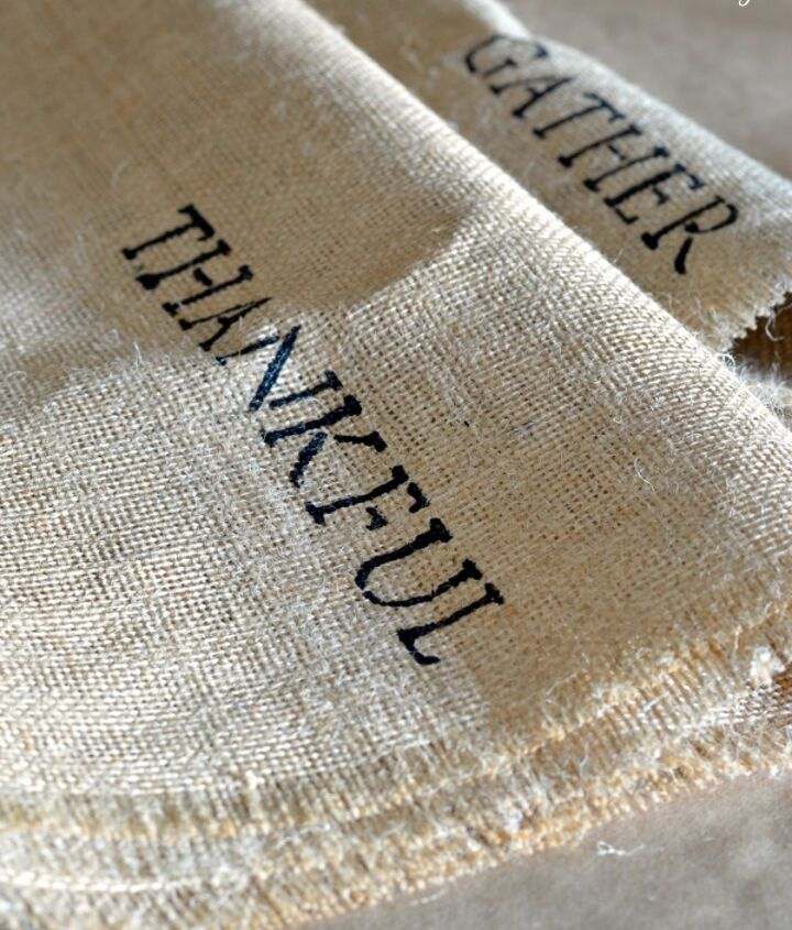 how to make a burlap stenciled table runner, crafts, seasonal holiday decor, thanksgiving decorations