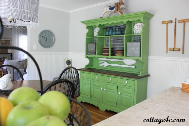 spring green hutch, painted furniture
