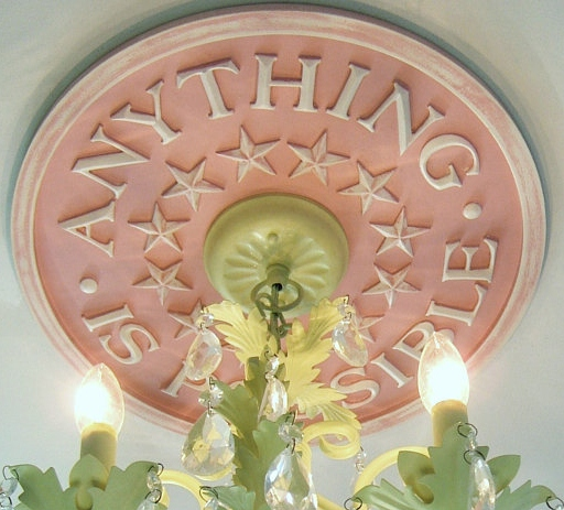 ceiling medallions for children s rooms, home decor, Ceiling Medallion in Anything Is Possible design by Marie Ricci Shown in distressed pink 18 diameter with 3 25 opening for wires Accepts 6 canopy 145