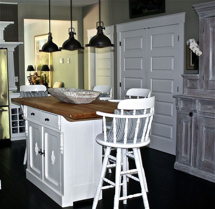 inexpensive options for beautiful countertops, countertops, diy, home decor, kitchen design, kitchen island, repurposing upcycling, reclaimed wood top that we refinished and added to an old dresser base to make our kitchen island to see our whole kitchen