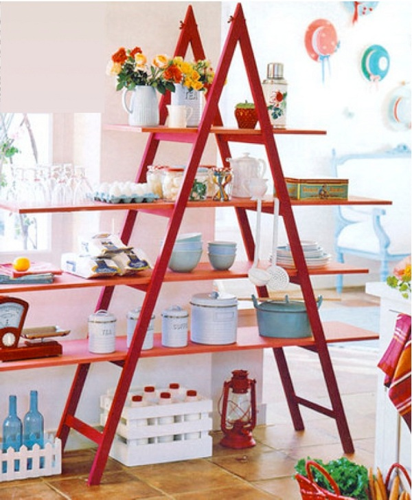 Need more colour to brighten up your kitchen. Use vases, flowers and a ladder! Repaint your old one in a vibrant tone (red fits nicely in a white kitchen) add some wooden shelves, and arrange as much bouquets as you can!
