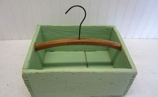 repurposed old crate and clothes hanger into tote, crafts, repurposing upcycling