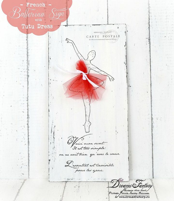 french ballerina sign with tutu dress, crafts