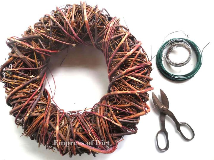 First you'll need a few wreaths. The trick is to soak them in water first - read more here http://www.empressofdirt.net/gardenartbirdnest/