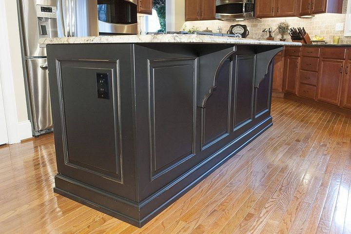 Brookhaven by Wood-Mode island with Typhoon Bordeaux granite top.