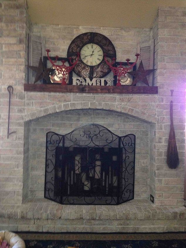 my whitewashed fireplace, fireplaces mantels, living room ideas, painting, Done