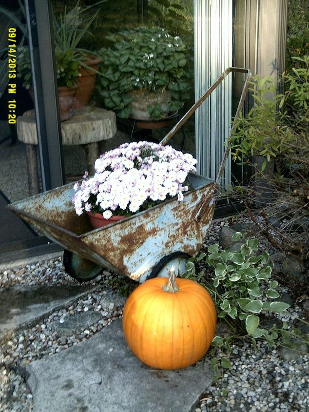 Here's another fall image of the cart filled with white mums and pumpkins at three-seasons entry to the Small House.