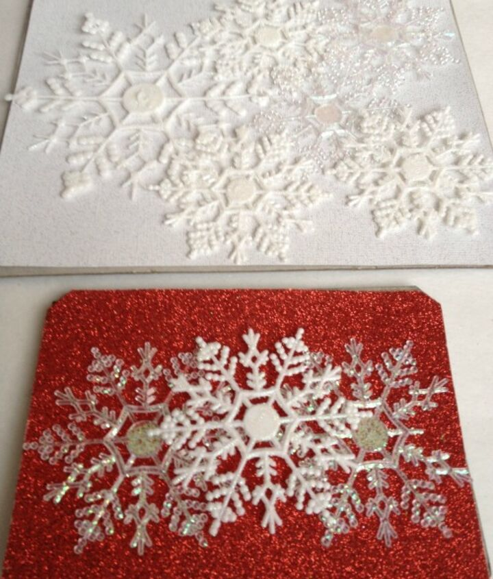 Cut paper and lay out snowflakes in the pattern you desire.