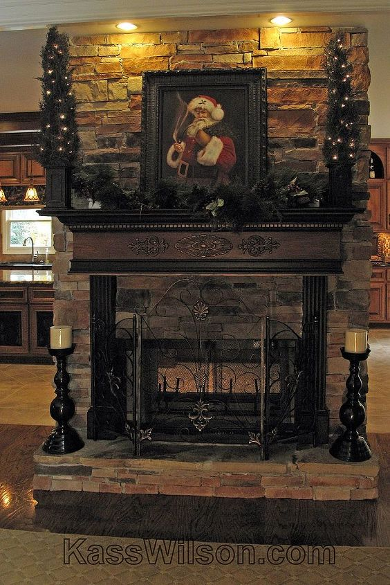 warm your heart for christmas, seasonal holiday d cor, Painted wood graining accented with black and bronze
