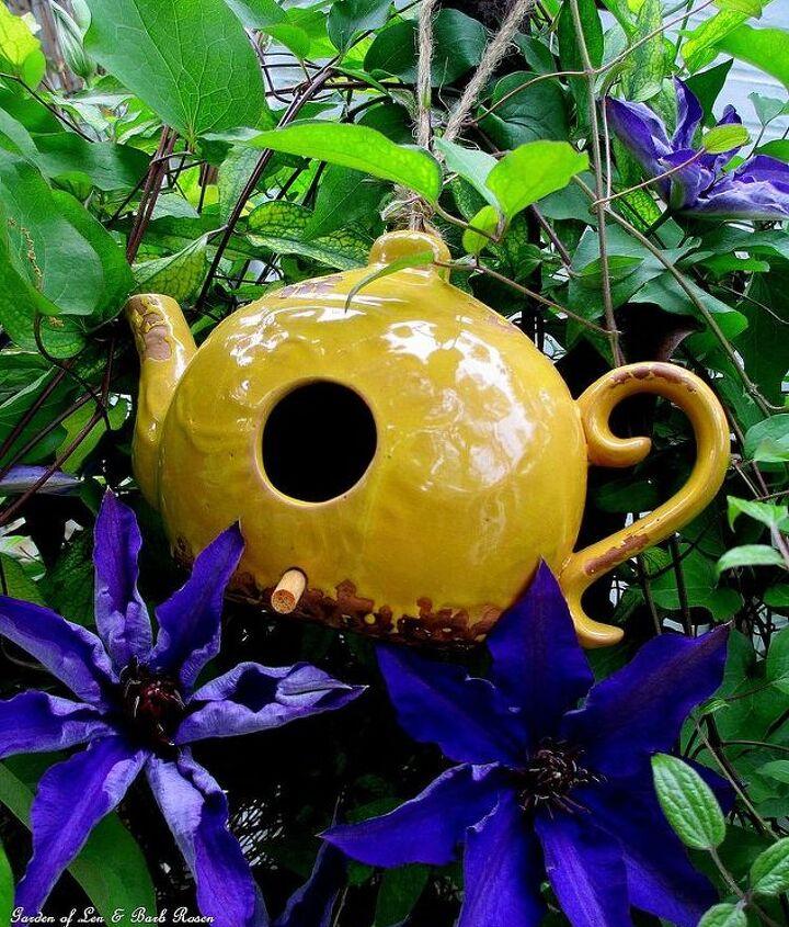 Teapot Birdhouse & Jackmanii Clematis