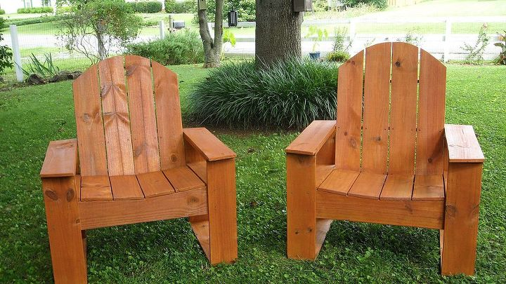 Stained outdoor chairs