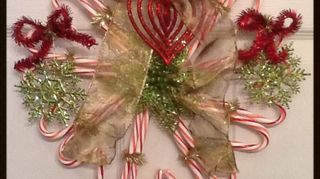 candycane wreath, christmas decorations, crafts, seasonal holiday decor, wreaths, I just made another Wreath hope you in joy Making for family and co works as gifts but next year I hope to make and sell