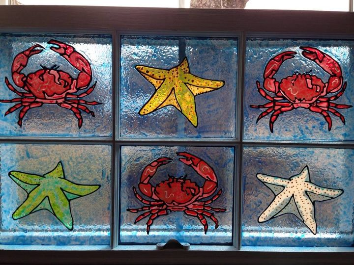 old window turned into faux stain glass, crafts, repurposing upcycling