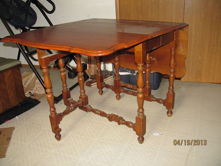 An old, drop leaf table.  The top was good, the legs were, well, boring.