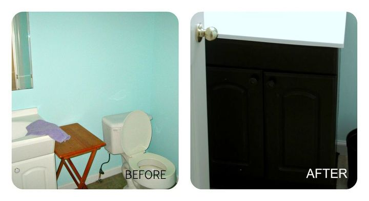 Painted cabinetry in the 1/2 bath