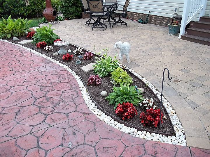 After: added metal edging and rocks to keep mulch from washing away.