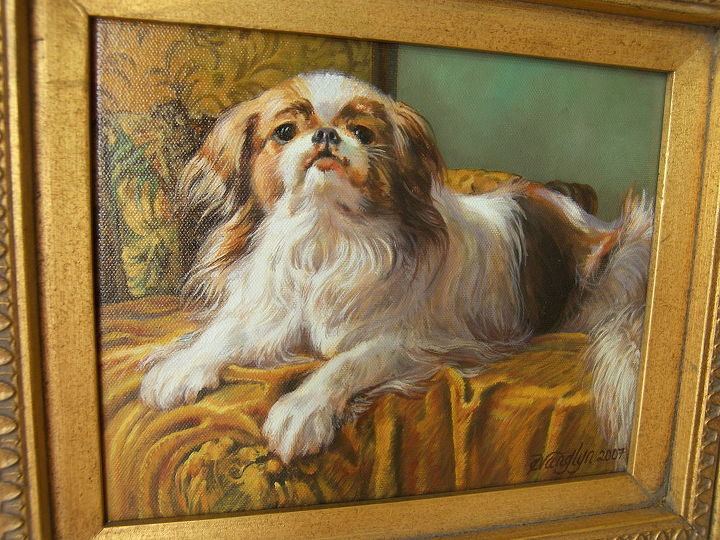 have been a professional artist most all my life this is my precious dog bandit, painting, Have been a professional artist most all my life this is my precious dog Bandit he is a Japanese Chin great breed Loved painting him in my front parlor where this portrait hangs w my other paintings of family