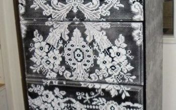 dresser that I painted with lace!