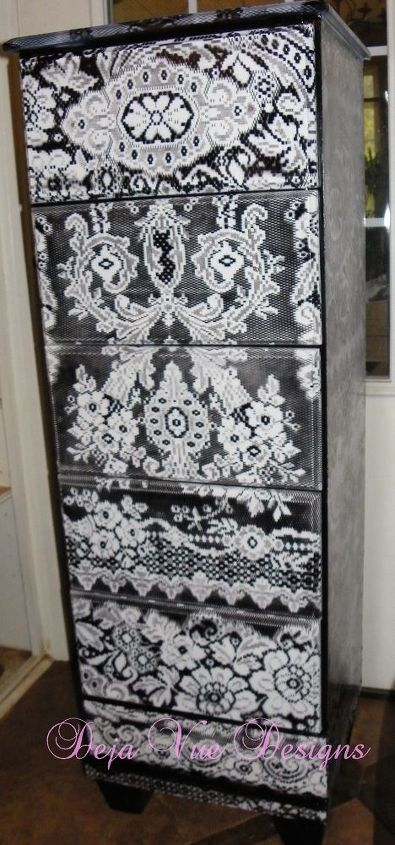dresser that i painted with lace, painted furniture