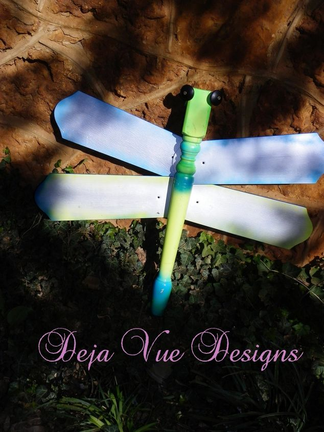 dragonfly from a table leg and ceiling fan blades, crafts