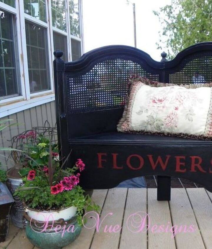 By cutting the headboard in half and using some scrap plywood for the bench...this headboard got a new life as a garden bench