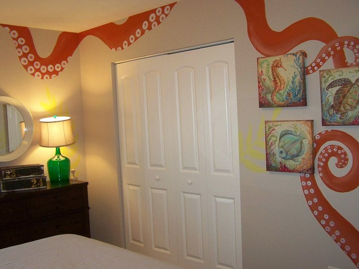 giant sqid engulfs this little boys room with playful tentacles a little, bedroom ideas, home decor