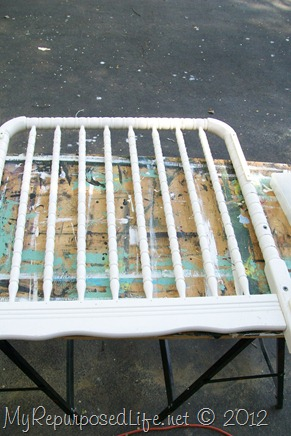 I started with this old piece of a crib.