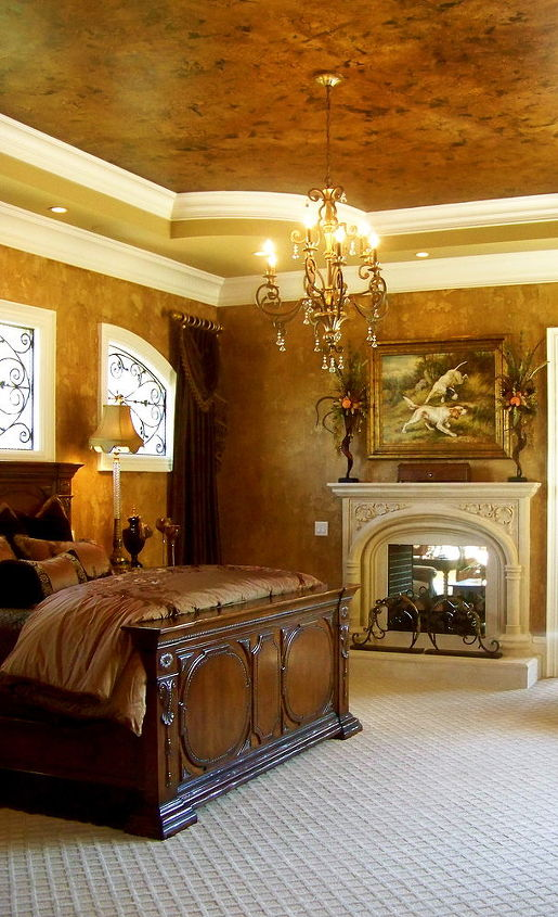 charlotte nc project i did several rooms several finishes here is the master, bedroom ideas, wall decor, Masterbedroom finishes in Charlotte NC project Walls are a textured strie with a random knockdown Ceiling is a Large Cracked Leather Finish
