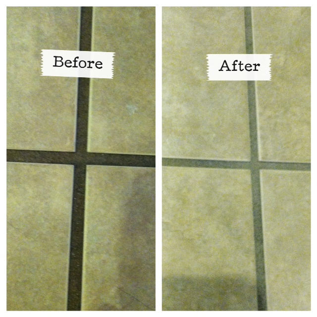 Before and After using the Grout GrimeBuster 3000