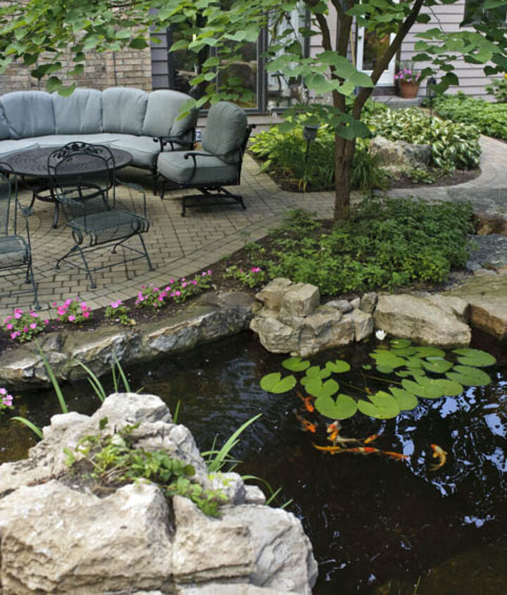 Ample seating provides opportunity for hours of entertaining by the water garden.