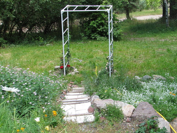 Some old tent sticks served to create this arbor. Not too swift but it's wonderful to see roses and hardy honeysuckle climbing up. I also put some stair steps in the sloping hillside to make it easier to walk down to where the leach field is. It's now all lawn area.