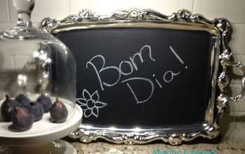 Chalk board painted silver tray