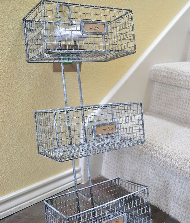 This is my easy solution! Hanging metal baskets from TJ Maxx.