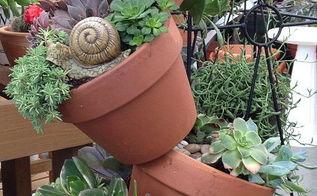 got junk, gardening, repurposing upcycling, succulents, Terracotta tower of succulents