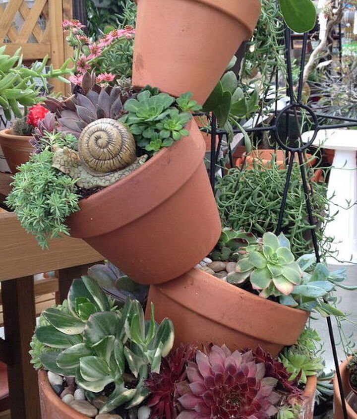 got junk, gardening, repurposing upcycling, succulents, Terracotta tower of succulents