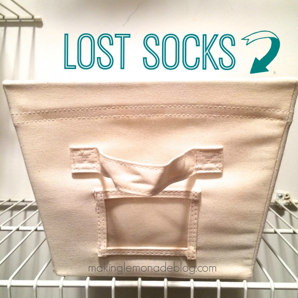 TIP #6: HAVE A COLLECTION SPOT FOR LOST SOCKS. Every time I find a lone sock, I'll toss it in a specific bin in our closet. Every few weeks I'll match them up, and it makes this process a breeze!