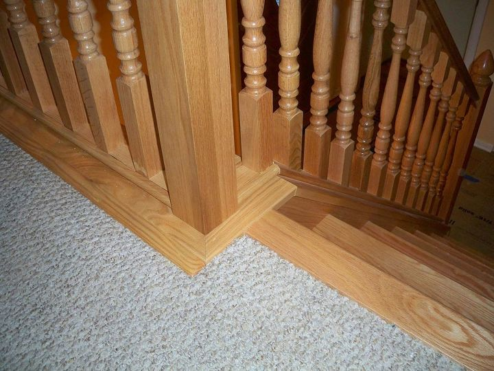 new oak stairs and railings, flooring, stairs, woodworking projects