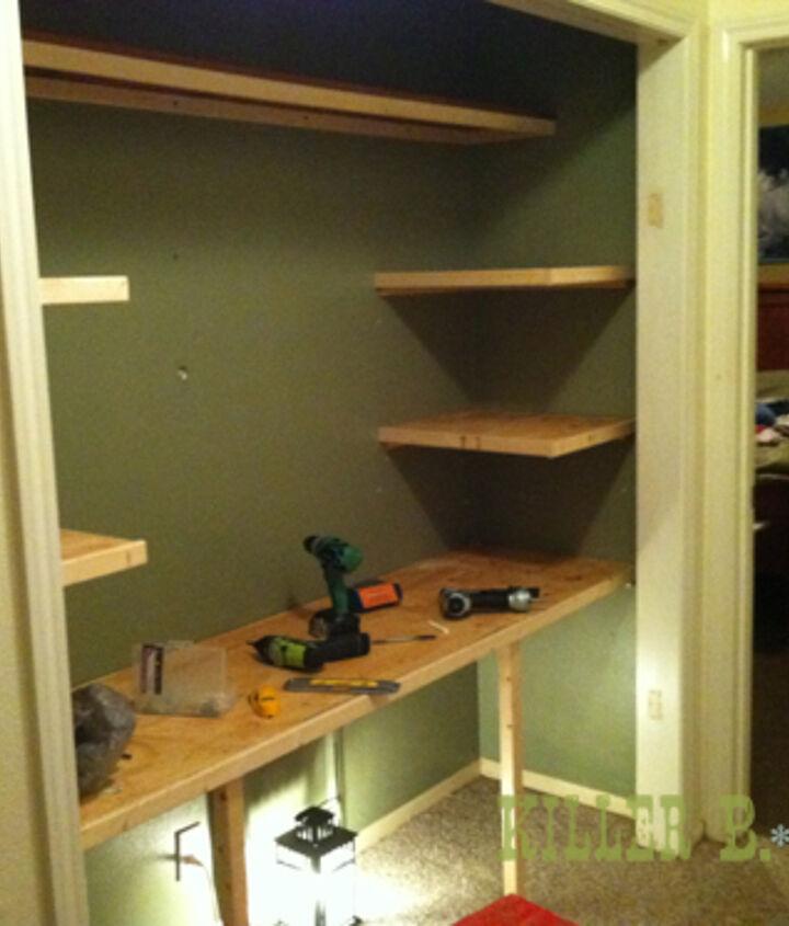 In-progress, shelves on cleats