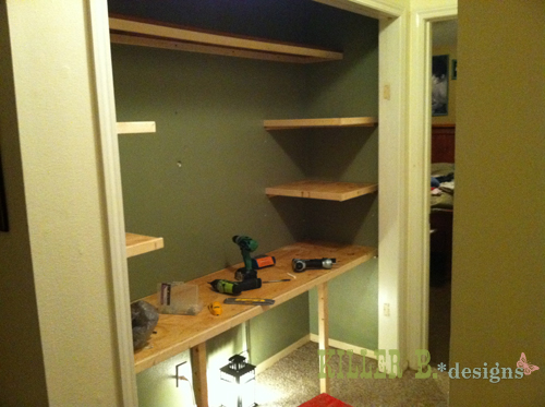 In-progress, shelves on cleats