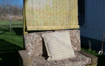 The outdoor seat I made to go with the super nice cushions found thrown out, not a thing wrong with them.