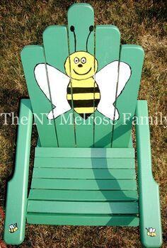 child s adirondack chair, painted furniture, Bumble bee painted Adirondack chair