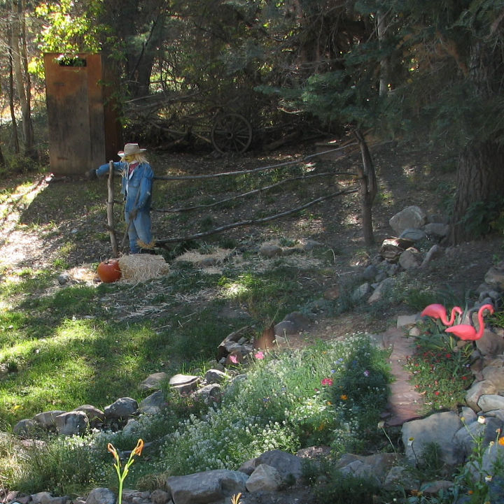 Fall in our garden and the scare crow is still standing after 3 winters.